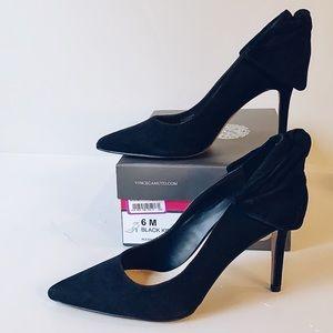 Dressy Black Suede Bow Heels
